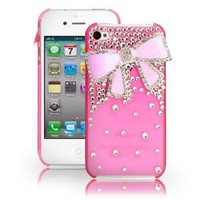 Fosmon 3D Bling Crystal Design Case for iPhone 4 / 4S - Pink with Pink Rhinestone Bow: Cell Phones & Accessories