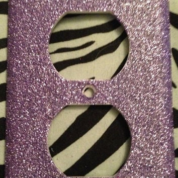 Fine Glittered Lilac Outlet OR Light Switch Cover