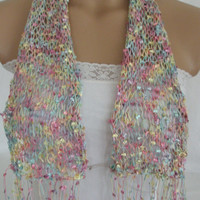 StOcK CleAranCe SaLe-50% OFF-WAS 19.90USD-Hand knitted colorful elegant butterfly scarf by Arzu's Style