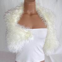 Hand knitted crocheted (Ivory) short sleeve wedding bridal bolero shrug by Arzu's Style