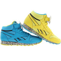 Reebok x Keith Haring Men CL Leather Mid Strap Lux (blue / boldly yellow / black / white) Shoes V44586 | PickYourShoes.com