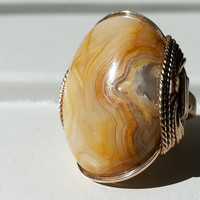 Crazy Lace Agate Ring, Gold Fill, Natural Druzy, Butter Yellow, Sunshine, Mustard, Triangle, Drusy Window