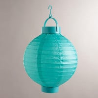 Turquoise Battery-Operated Paper Lanterns, Set of 4