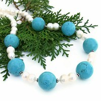 Turquoise Howlite Handmade Necklace Pearl Chunky Beaded Jewelry Unique