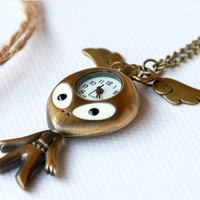 lovely charm smart Pocket watch Necklace with cute by qizhouhuang
