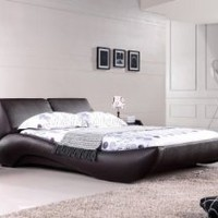 Vouge Contemporary Platform Bed King (Mocha): Home &amp; Kitchen