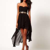 TFNC Hi Lo Bandeau Dress with Embellished Waist