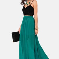 Floor de Lis Teal Maxi Skirt