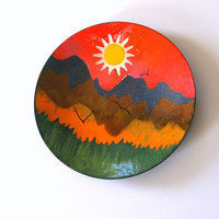 50s VINTAGE MID CENTURY Enamel Copper Decorative Plate Fabulous Modern Abstract Art  Mountain Scene Colorful Rainbow Pattern Seagulls Sun