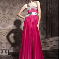 [298.09] In Stock Gorgeous Gradient Tencel & Malay Satin & PU leather A-line One Shoulder Neckline Floor-length Evening Dress  With Beads - Dressilyme.com