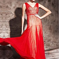 [275.89] In Stock Elegant   Tencel & Malay Satin A-line V Neckline Floor-length Evening Dress  With Rhinestones - Dressilyme.com