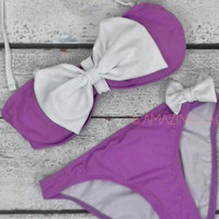 Oceanside Drive Purple & White Bow Bikini