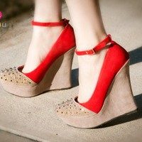 Liliana Two Tone Ankle Strap Round Spiked Toe Wedge (Red) - Shoes 4 U Las Vegas