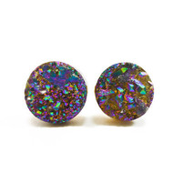 Rainbow Flame Druzy Stud Earrings n60 by AstralEYE on Etsy