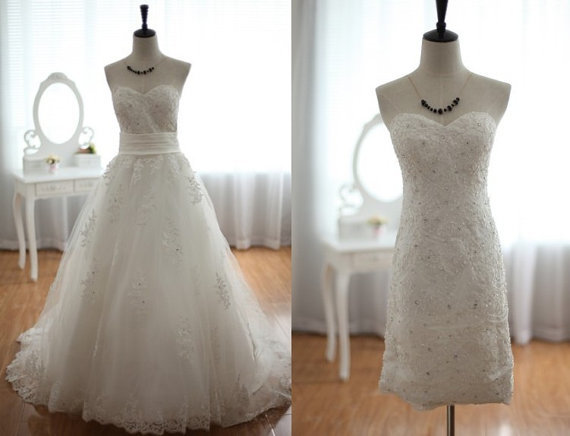 Lace Tulle Wedding Dress 2 1 Detachable From Wonderxue On Etsy