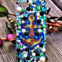 Blue, Teal, Gold & Pearl Anchor iPhone 5 Case- Wonderful Waves