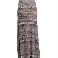 White/Black Tribal Print Maxi Skirt