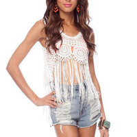 &#x27;Chella Fringe Tank Top in Ivory :: tobi