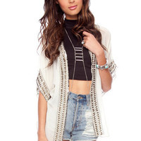 Embellished Stud Cardigan in Cream :: tobi