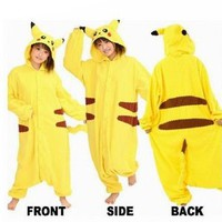 "COS365 Pokemon Pikachu Kigurumi Pajamas Adult Anime Cosplay Halloween Costume ,size L (68"" -70""))"