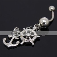 Ouran Fashion Antianaphylaxis Rudder Anchor Shape 316L Stainless Steel Belly Button Ring    - US DinoDirect.com