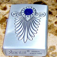 ART DECO SERIES FAUX BLUE SAPHIRE SILVER ENGRAVED WINDPROOF REFILLABLE LIGHTER