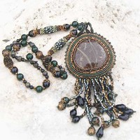 Embroidered Picasso Jasper Cabochon Gemstone Glass Bead Woven Necklace