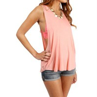 Peach Sleeveless Open Arm Tank Top