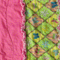 Rag Quilt Pink & Lime Green Flowers Butterflies by TwoSisters2Sis