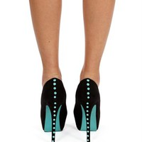 Black/Mint Suede Studded Peep Toe Pumps