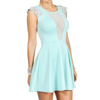 Mint Scuba Gemstones Short Dress