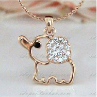 lovely sweet hollow out elephant Rhinestone necklace