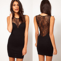 Lace Black Cultivate one's morality  Sleeveless Dress