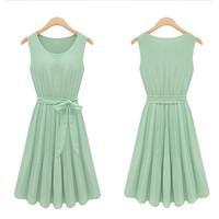 Mint Green Bow Chiffon Slim Long Dress