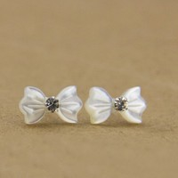 Bowtie Shape Seashell Studs for Women