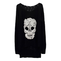 Lace Batwing Knit With Skull Motif from FUNKISS