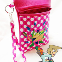 Rock & Roll Owl Pink Vegan Leather Cell Phone Wristlet