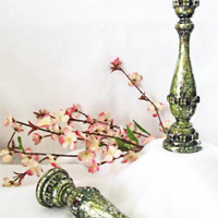 Gothic Candlestick Pair hand painted in moss green lichen and metallic gold accents rustic candle holders