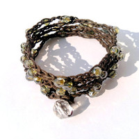 bohemian 5x checks beaded bracelet crocheted by theflowerdesign