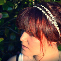 Lace Hairband Ivory Headband Double Strand by bluebellsandbunting