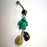 Belly Button Ring Barbell Turquoise Magnesite Turtle Shells Silver Tone Black Crystals