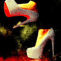Abstract Red Bottom Crystal Heels Digital Art Print