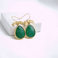 Emerald Green Jade Stone Drop Golden Earrings by Myvera on Etsy