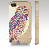 iPhone 4s case, iPhone 4 case, iPhone 5 case, owl iphone case, colorful owl painting, animal owl art for your phone