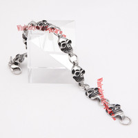WJS Wholesale marvelous 316L casting stainless steel skulls bracelet | SKU : WJS5741 - Wholesale Price $7.19