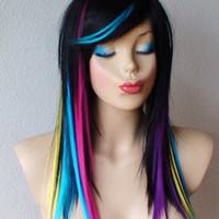 Anniversary Special :)) Rainbow Ombre/black wig. Long straight  hair with rainbow highlights wig. Top quality fashion wig.