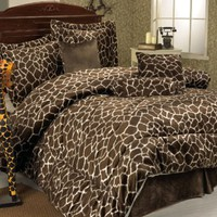 7Pcs Queen Giraffe Animal Kingdom Bedding Comforter Set