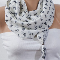 White Anchor SCARF with beads. Dark Blue anchor patterns. Headband. Necklace. For 4 seasons. For. her. Nicktie.
