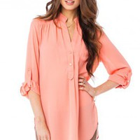 Pure Colora Blouse in Salmon - ShopSosie.com