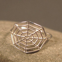 Spider web ring, statement ring sterling silver, nature inspired jewelry